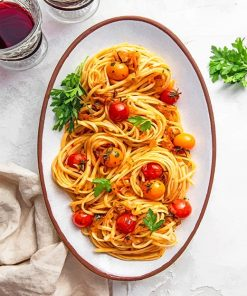 Spicy Pasta with Cherry Tomatoes adult paint by numbers