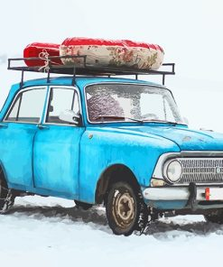 Blue Old Car in Snow NEW paint by number