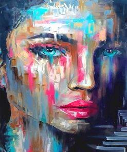Colorful woman blue eyes adult paint by numbers