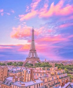 Eiffel Tower Pink Sky adult paint by numbers