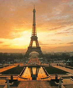 Eiffel Tower at Dawn Horizontal adult paint by numbers