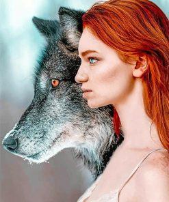 Ginger hair wolf woman adult paint by numbers