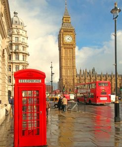 London Phone Box with big ben adult paint by numbers