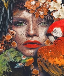 Parrots woman flowers paint by numbers