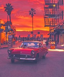 VW in california streets sunset adult paint by numbers
