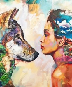 Wolf woman animal human adult paint by numbers