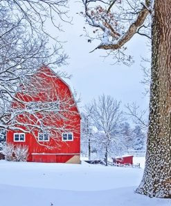 Red Barn Snow paint by number