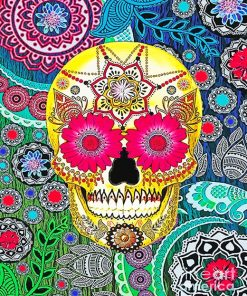 Abstract Colorful Skull paint by number