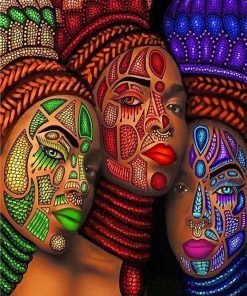 African Art women adult paint by numbers