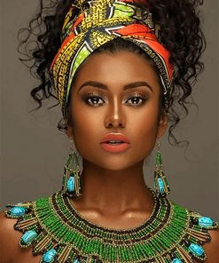 African beautiful woman adult paint by numbers