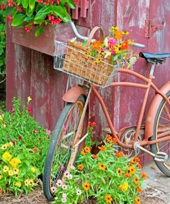 Bike With Flower Basket paint by number