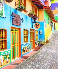 Colorful Guatapé colombia adult paint by numbers