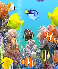 Colorful fishes deep sea adult paint by numbers
