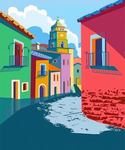 Colorful houses adult paint by numbers