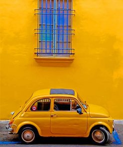 Cute yellow car adult paint by numbers