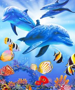 Dolphins underwater with tropical fishes adult paint by numbers