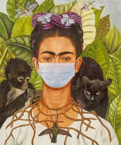 Frida Kahlo Wearing Mask adult paint by numbers