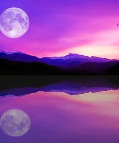 Full Moon Lake Reflection adult paint by numbers