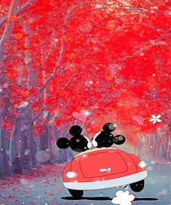 Mickey and Minnie in the Car paint numbers