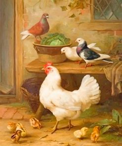 Pigeon and Chicken adult paint by numbers