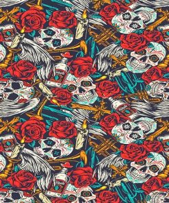 Skulls Red flowers adult paint by numbers