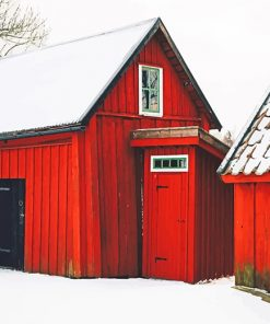 Beautiful Barn Snow paint by number