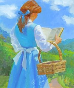 Belle Disney Princess Reading Book paint By Numbers
