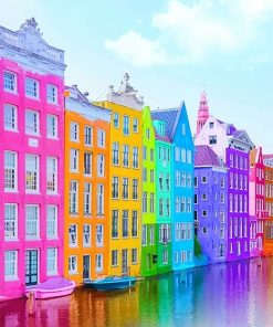 colorful buildings adult paint by numbers