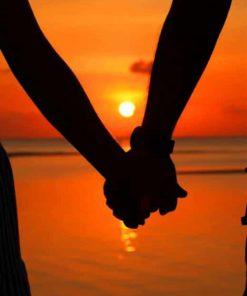 Couple Holding Hands Love Sunset Silhoutte paint by numbers