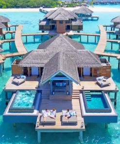 Maldives Hut on Water paint by numbers