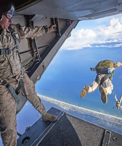 Military Man Sky Diving paint by number