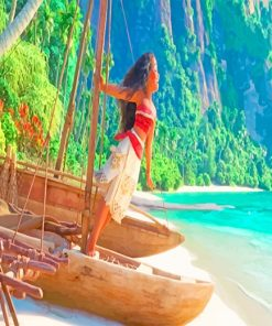 Moana Singing Boat Shore paint by number