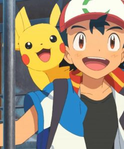 Pikachu And Ash Ketchum paint by number