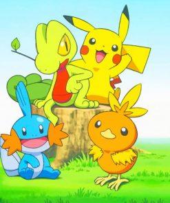 Pikachu Treecko Pokemon paint by number