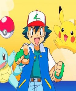 Pokemon Ash Ketchum And Pikachu paint by number