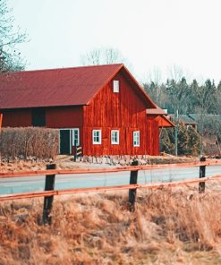 Red Beautiful Barn paint by number