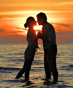 Silhouette of Romantic Couple in Beach paint by numbers