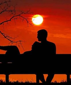 sunset romance couple romantic view paint by numbers
