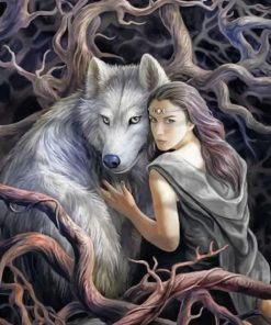 Woman And Wolf Paint By Numbers