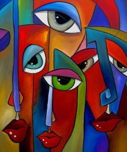 Colorful Faces Abstract Art paint by numbers