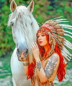 Indian Woman With A White Horse Paint By Numbers
