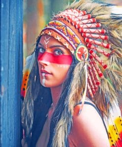 Red Indian Women Paint By Numbers