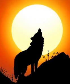Wolf Silhouette paint by numbers