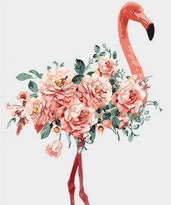 Pink Flower Flamingo Paint by numbers