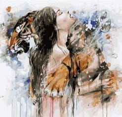 Woman Hugging A Tiger paint by numbers