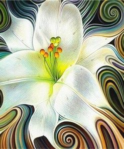 Abstract White Flowers paint by numbers