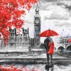 London lovers in Black and Red paint by numbers