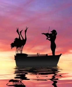 Bird And Violinist Silhouette