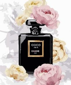 Perfume Bottle Black White Flower Paint By Numbers