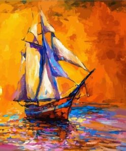 Boat on Sea Paint by numbers
